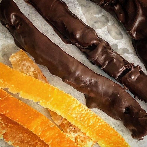 Hand dipped orange candied peel (Dark Colombian Chocolate)