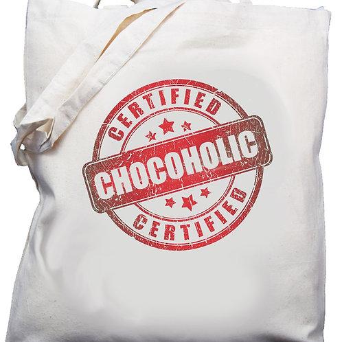 "Cotton Shoulder Bag  ""Certified Chocoholic"" Red"