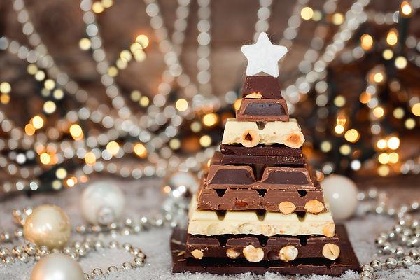 Chocolate Christmas tree. Selective focu