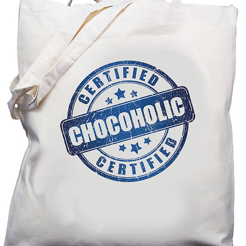 "Cotton Shoulder Bag  ""Certified Chocoholic"" Blue"
