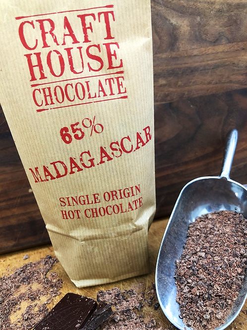 65% Madagascan Dark Ground Hot Chocolate.