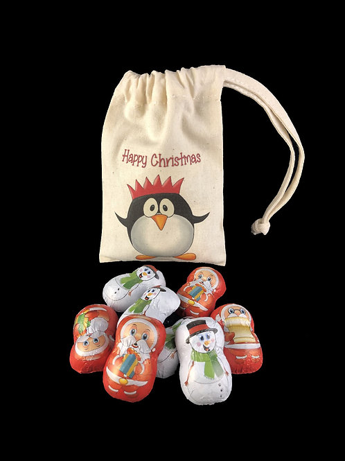 Chocolate Filled Penguin Cotton Bag Hazel Nut Pralines