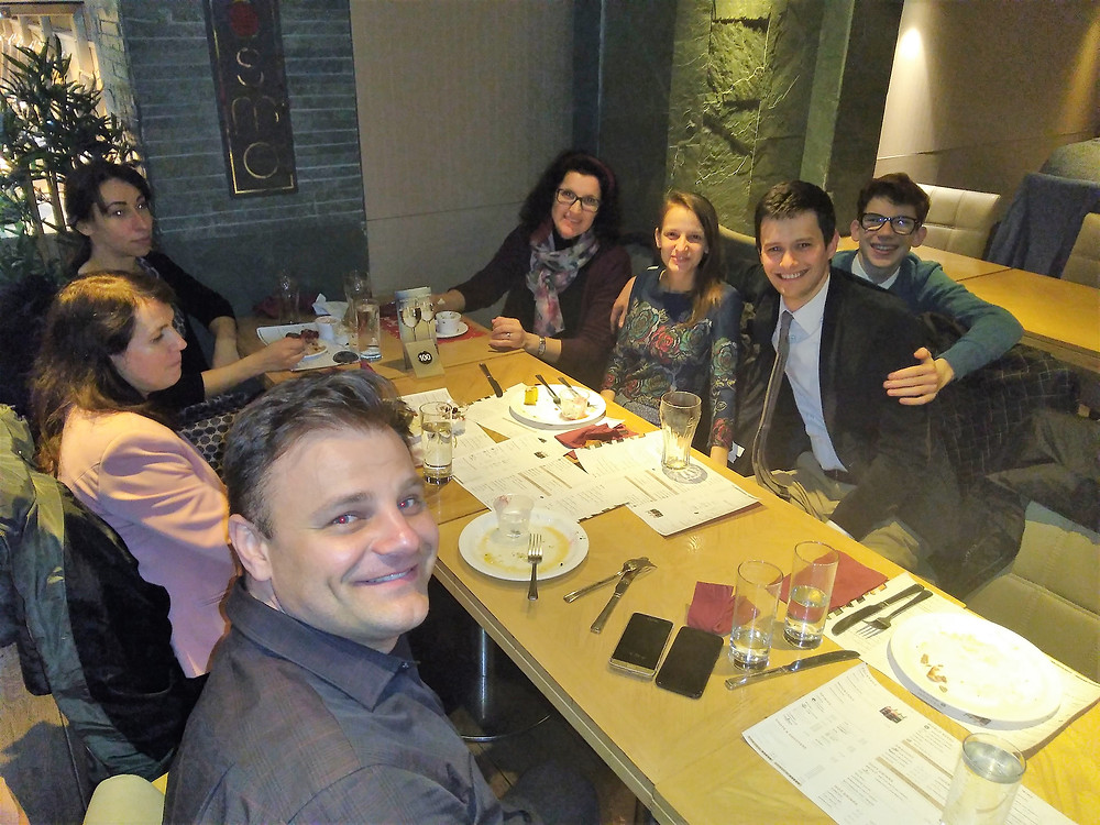 an evening at a restaurant arranged by members of the Romanian Church