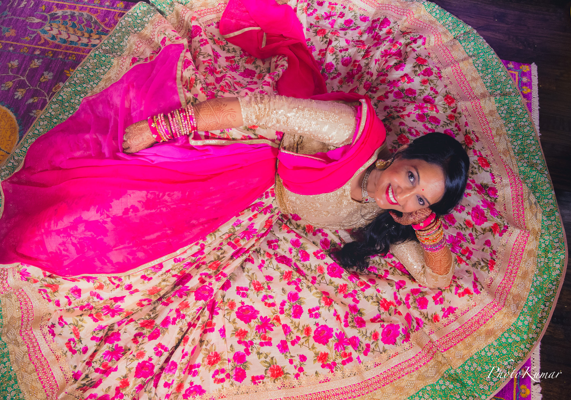 South Indain Bride in her beautiful wedding dress.