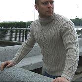 теплый шерстяной свитер ИНИШ с горлом ручной работы купить в Новосибирске