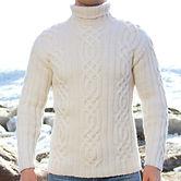 белый мужской женский свитер с высоким горлом на спицах купить  Норильск