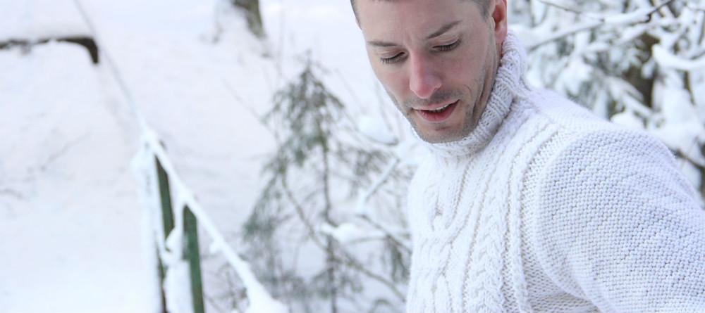 Свитер с аранскими узорами с высоким воротом из мягкой натуральной шерсти купить