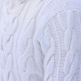мужской белый свитер воздушной вязки с косами купить в интернет-магазине