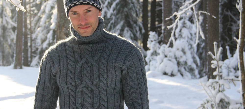 Серый чистошерстяной свитер с горлом из толстой пряжи купить спб
