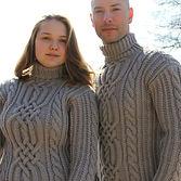 толстый мужской женский шерстяной свитер с богатым аранским орнаментом, высокое горло купить в интернет магазине москва лучший подарок