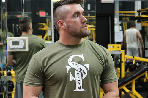 Military Green Strength Team Fitted Tee Shirt