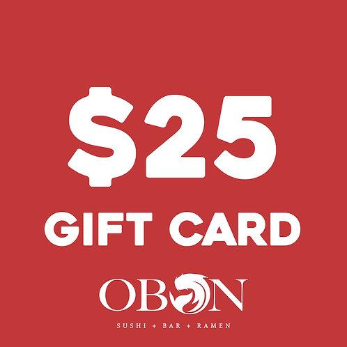 $25 Obon Gift Card