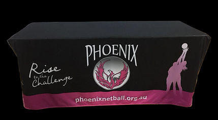 Printed Fitted Table Cloth for Netball Club in Brisbane