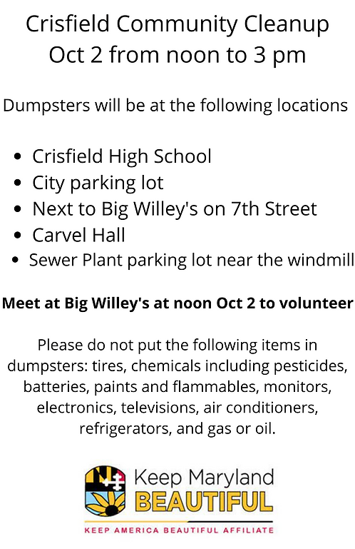 Crisfield Community Cleanup with itmes not for dumpsters.png