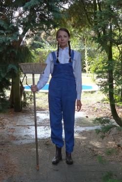 Sonja Vectomov with a broom