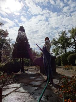 Sonja Vectomov watering flowers