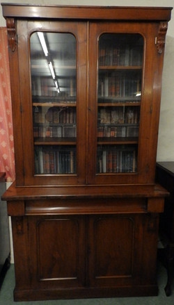 Victorian bookcase on cupboard