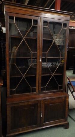 Georgian bookcase on cupboard