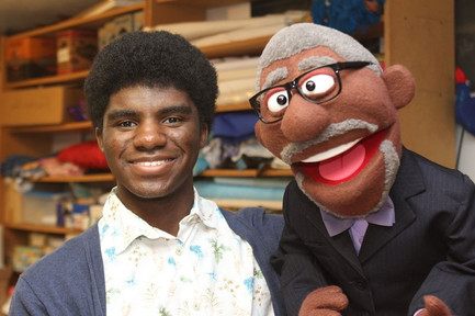 Zach and Mayor Sly James Puppet