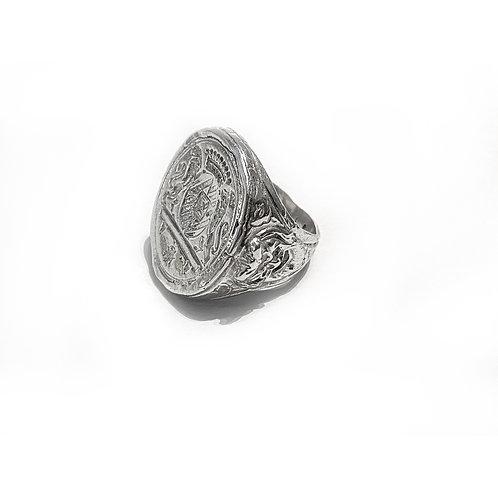 Heraldic silver ring