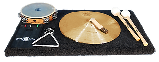 Accessorypack ( includingConstantinople Zildjian Crash cymbals, Black Swamp Tambourine, Black Swamp Triangle with clip, pair of Vic Firth Rolling Bass Drum beaters and a carpeted trap table with stand.