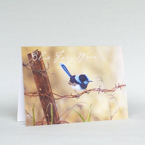 Blue Wren Greeting Card Landscape