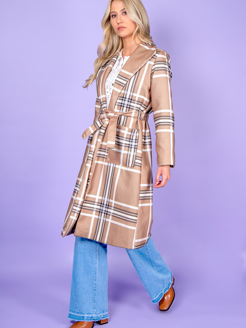 Alicia Patterned Belted Brown Coat