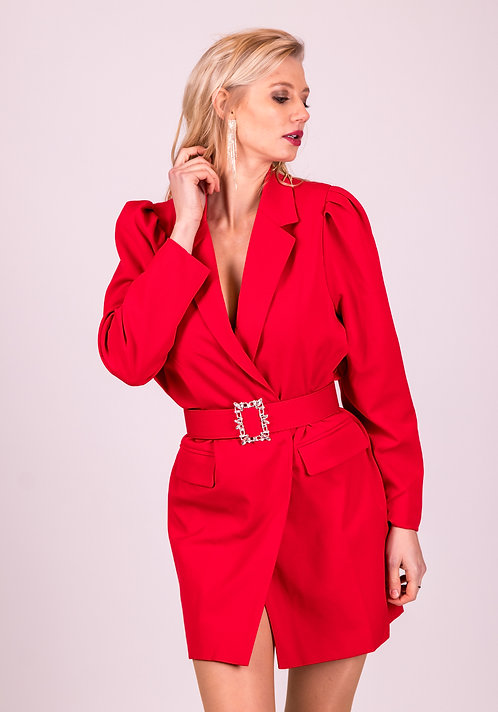 Bo Belted Red Glamour Dress