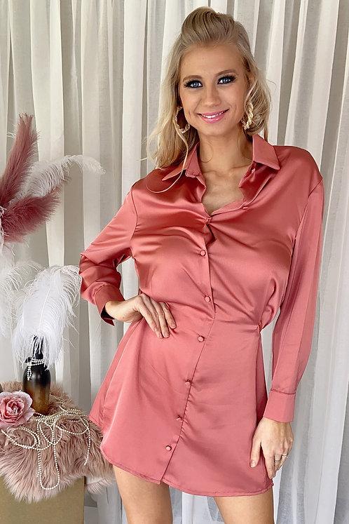 Edna Rosé Silk Dress