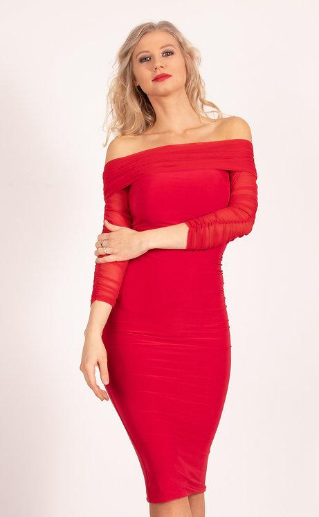 Red Krista Ruched Mesh Bardot Dress