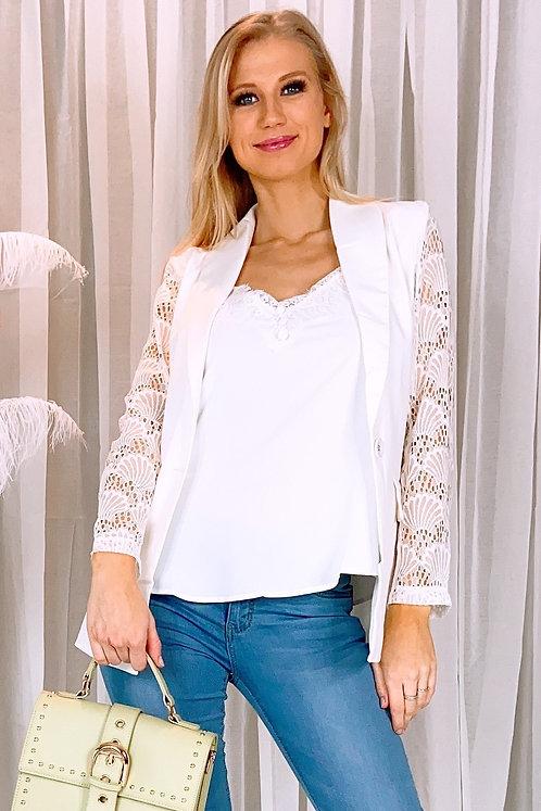 Beverly White Lace Sleeve Blazer