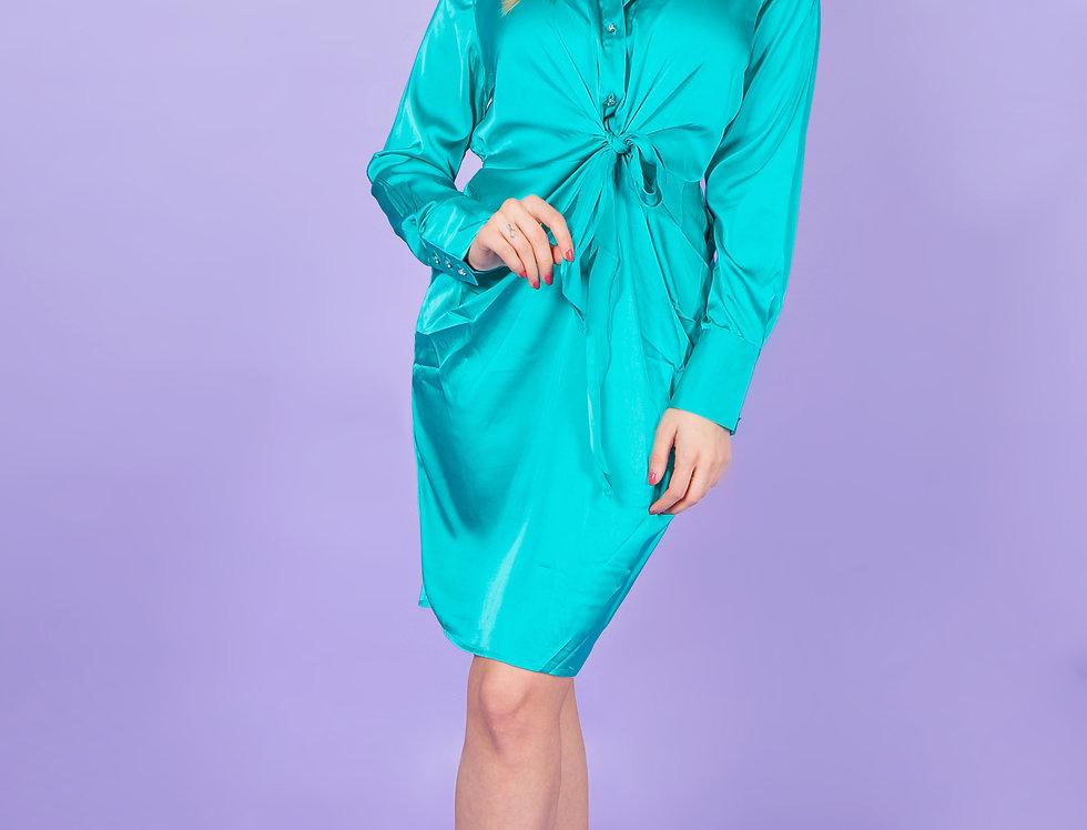 Make You Mine Silk Turquoise Dress