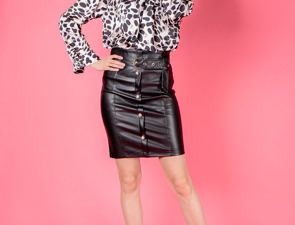In The Zone Black Faux Leather Skirt