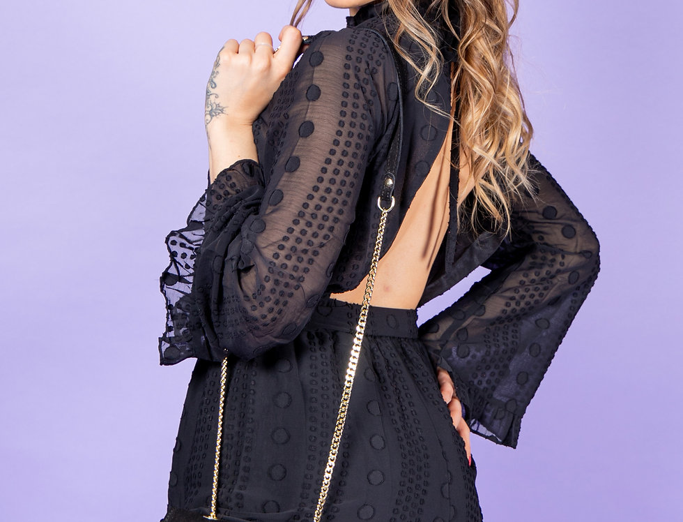 Make It Sexy Open Back Black Playsuit