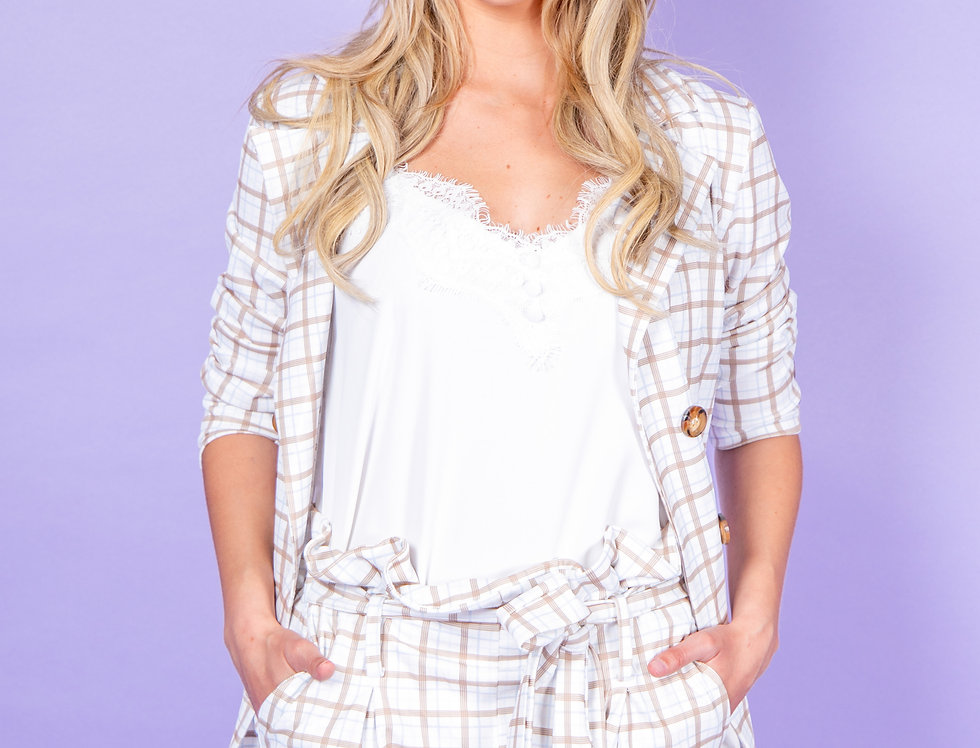 I Am So Ready For Today Checkered Two Piece White Set