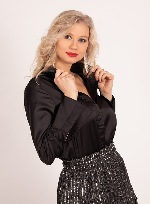 Josefina Black Satin Blouse