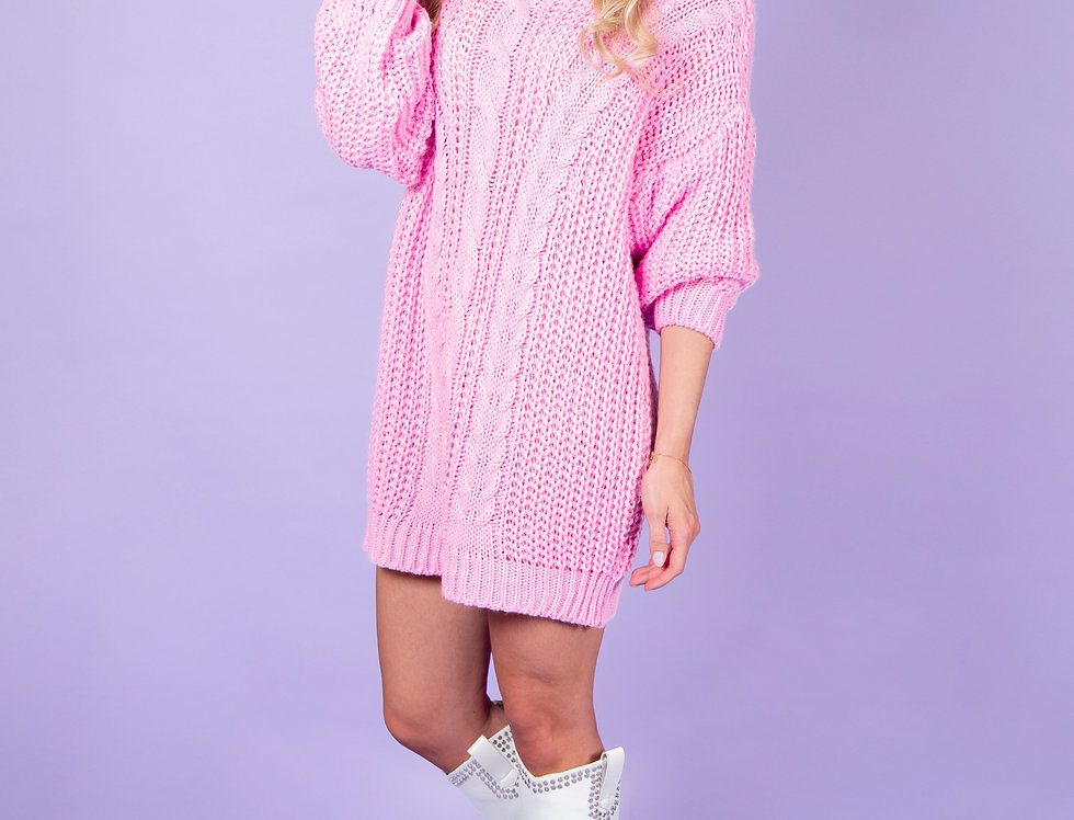 Melanie High Neck Pink Knitted Pullover Dress