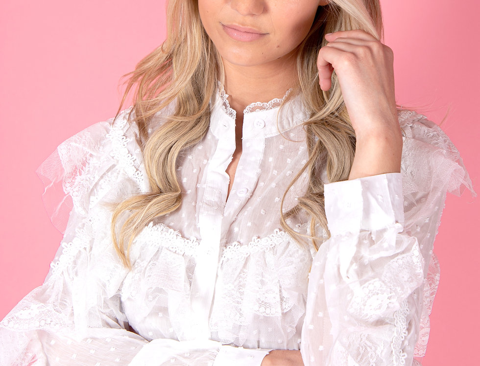 Doll Me Up Transparent White Lace Blouse