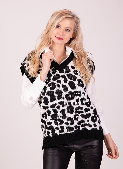 Lydia Animal Printed Knitted Vest