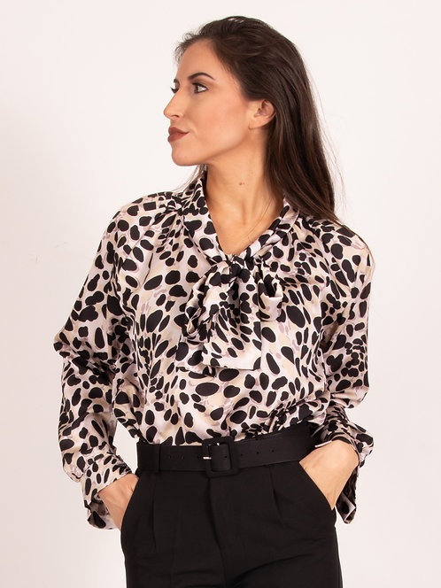 Andrea Animal Printed Pussybow Top