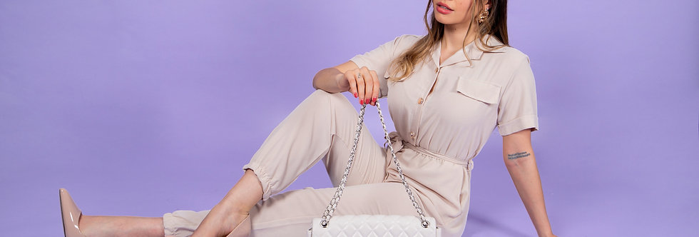 Discover The World Beige Jumpsuit