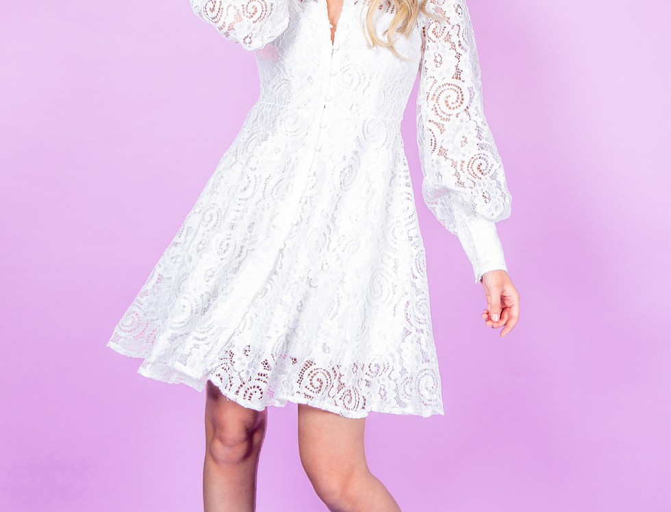 Mary Lace Dress White