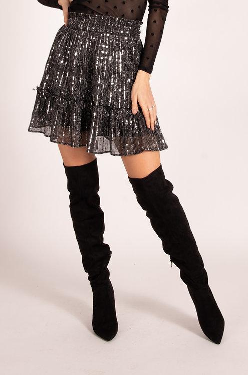 Juliana Silver Glitter Skirt