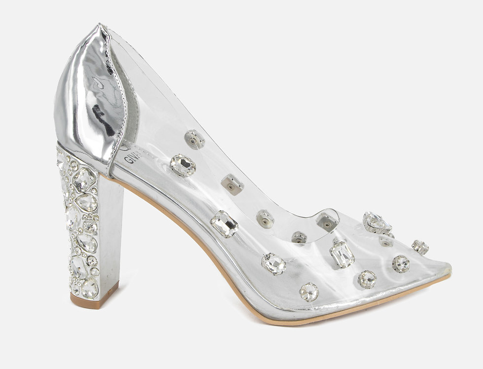 Clearly A Diamond Transparent Silver Pumps