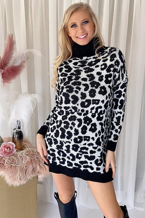 Tessa Animal Print Black Dress