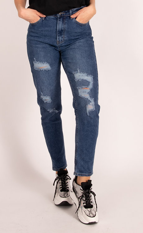 Faria Denim Ripped Mom Fit Jeans