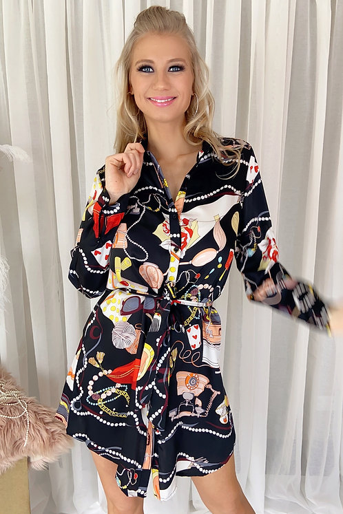 Emily Luxury Printed Black Dress