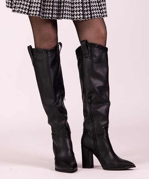 Black Cool Leather Boots