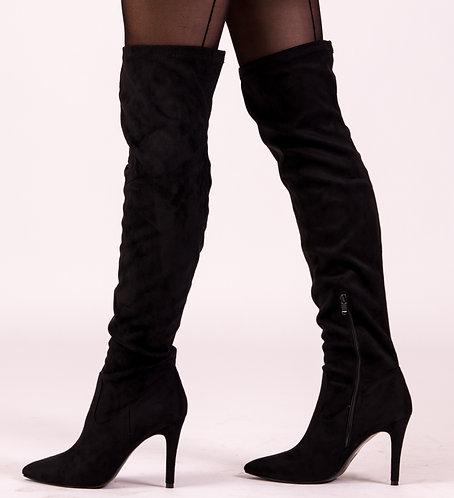 Black Suede Overknee Boots
