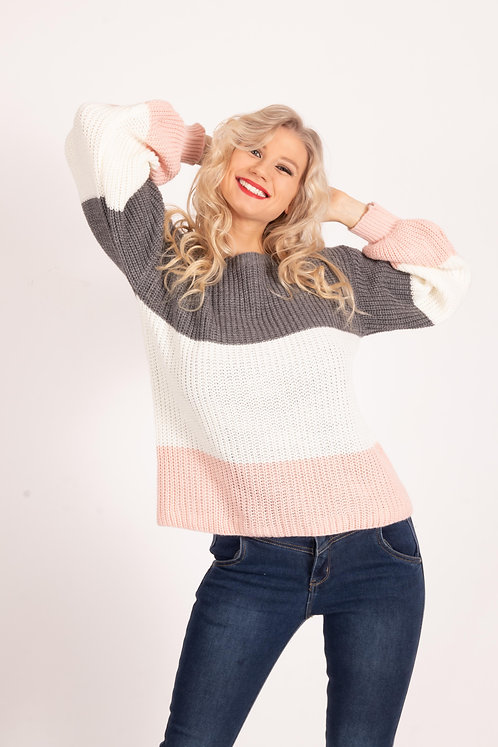 Rylie Three Tone Knitted Jumper Top